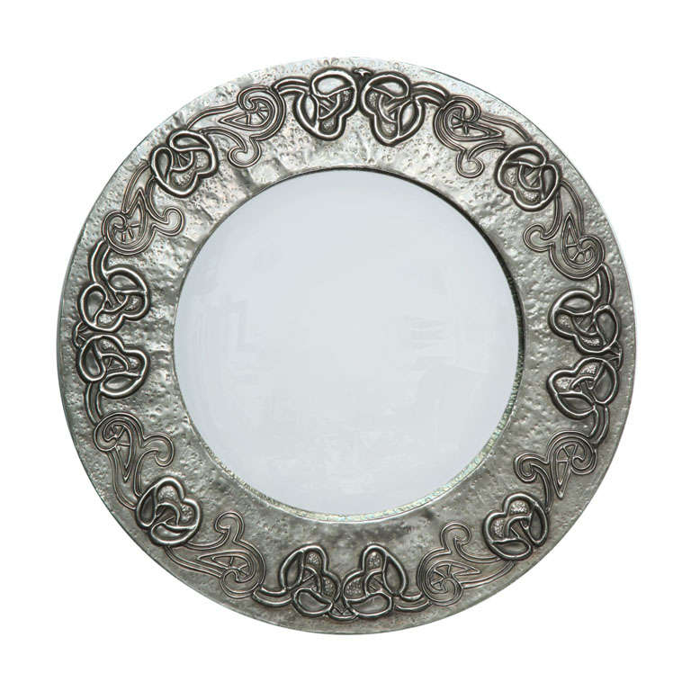 An English Arts Crafts Hand Hammered Pewter Round Mirror For