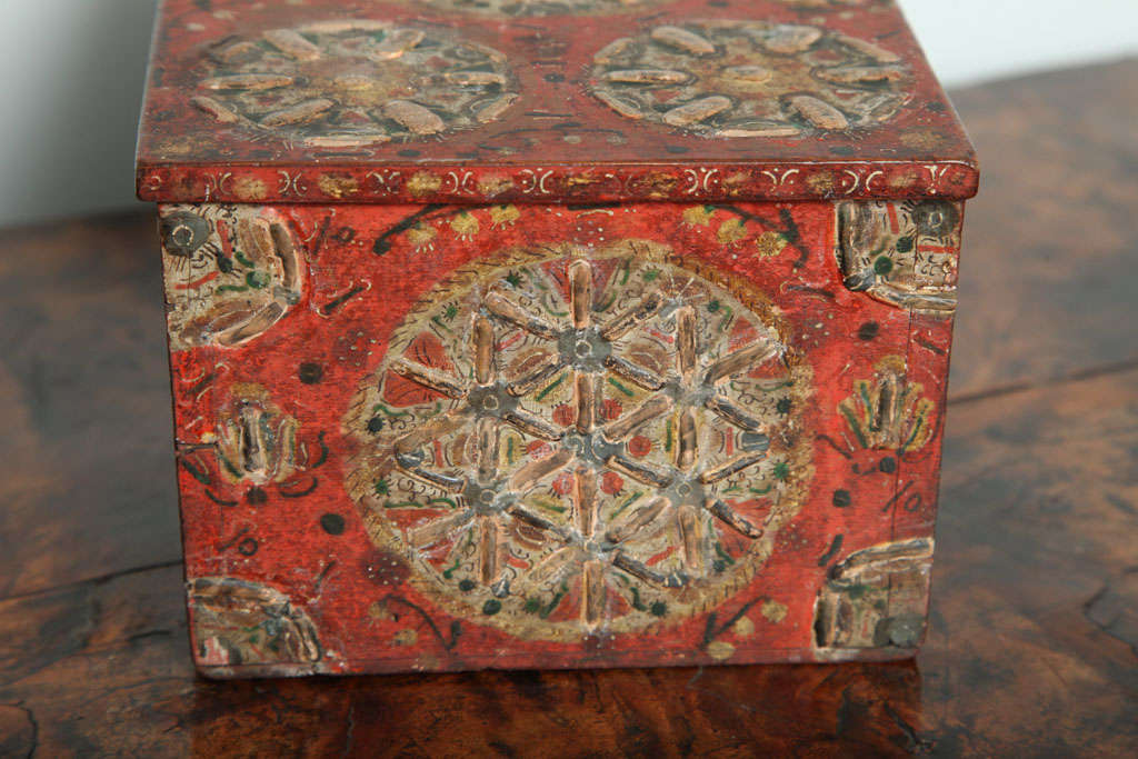 18th Century and Earlier 17th Century Painted Folk Art Scandinavian Box For Sale