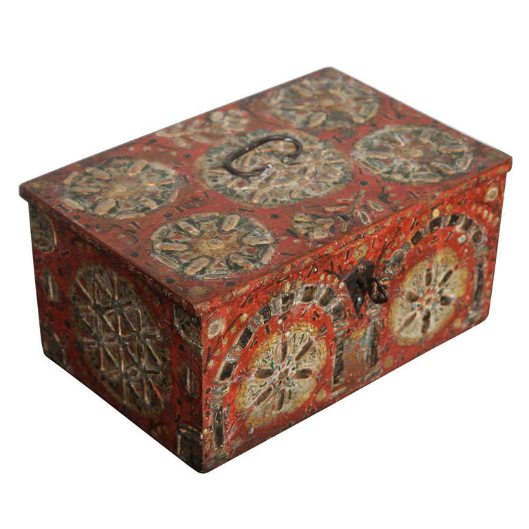 17th Century Painted Folk Art Scandinavian Box For Sale