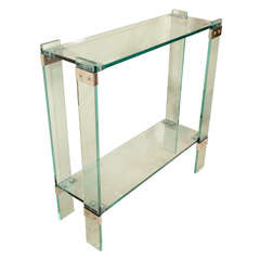Tall Glass Console With Nickel Hardware