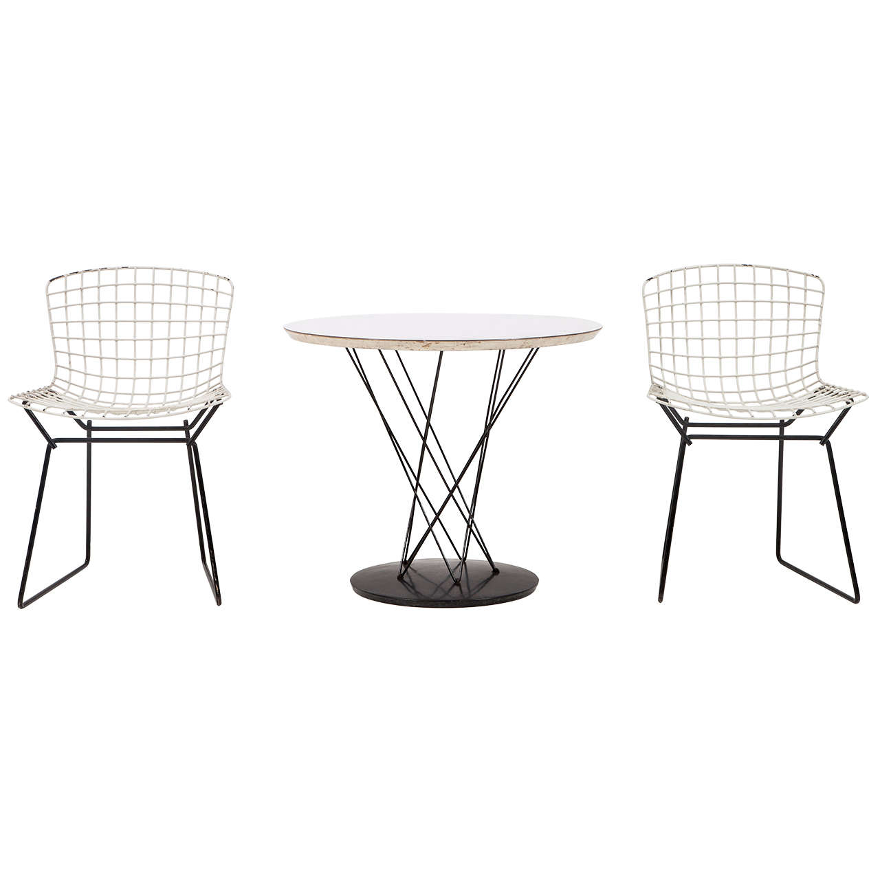 Cyclone Side Table By Isamu Noguchi With Two Toddler Bertoia Chairs For