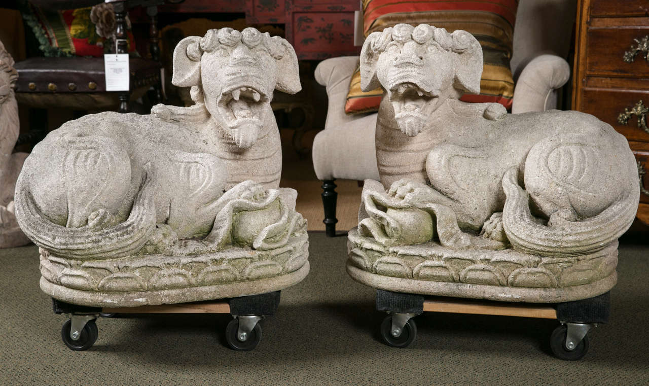 A pair of Asian carved stone Foo dogs.