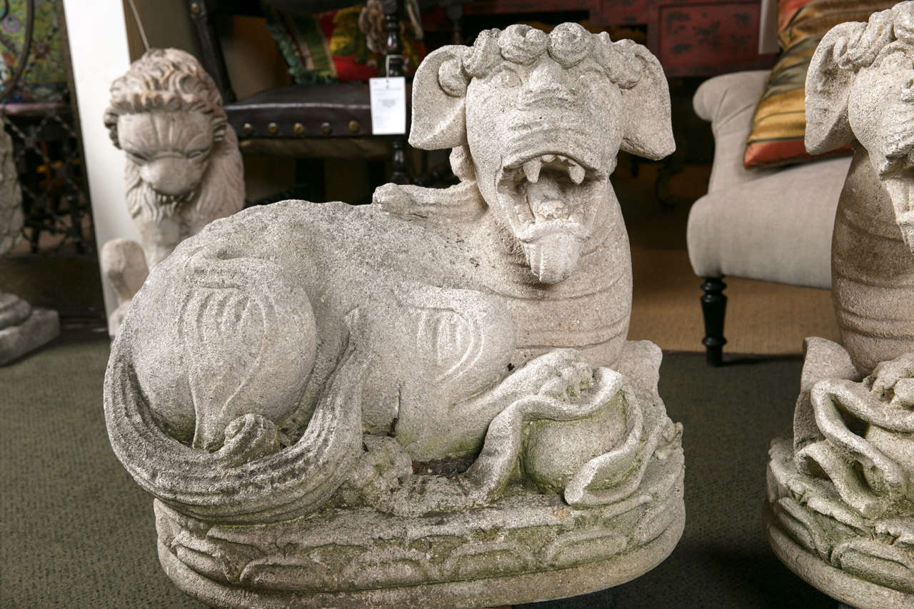 Carved Stone Foo Dogs In Good Condition For Sale In Stamford, CT