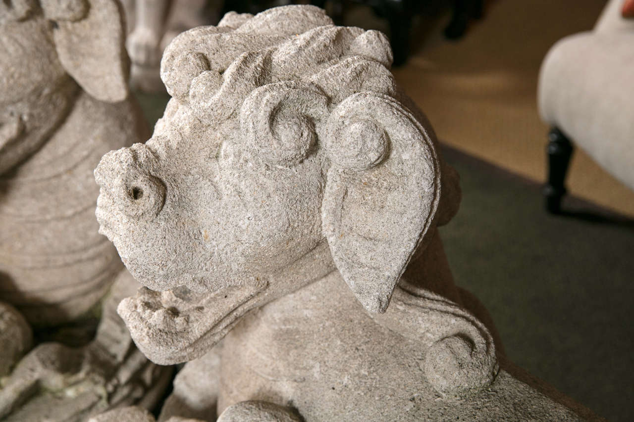 20th Century Carved Stone Foo Dogs For Sale