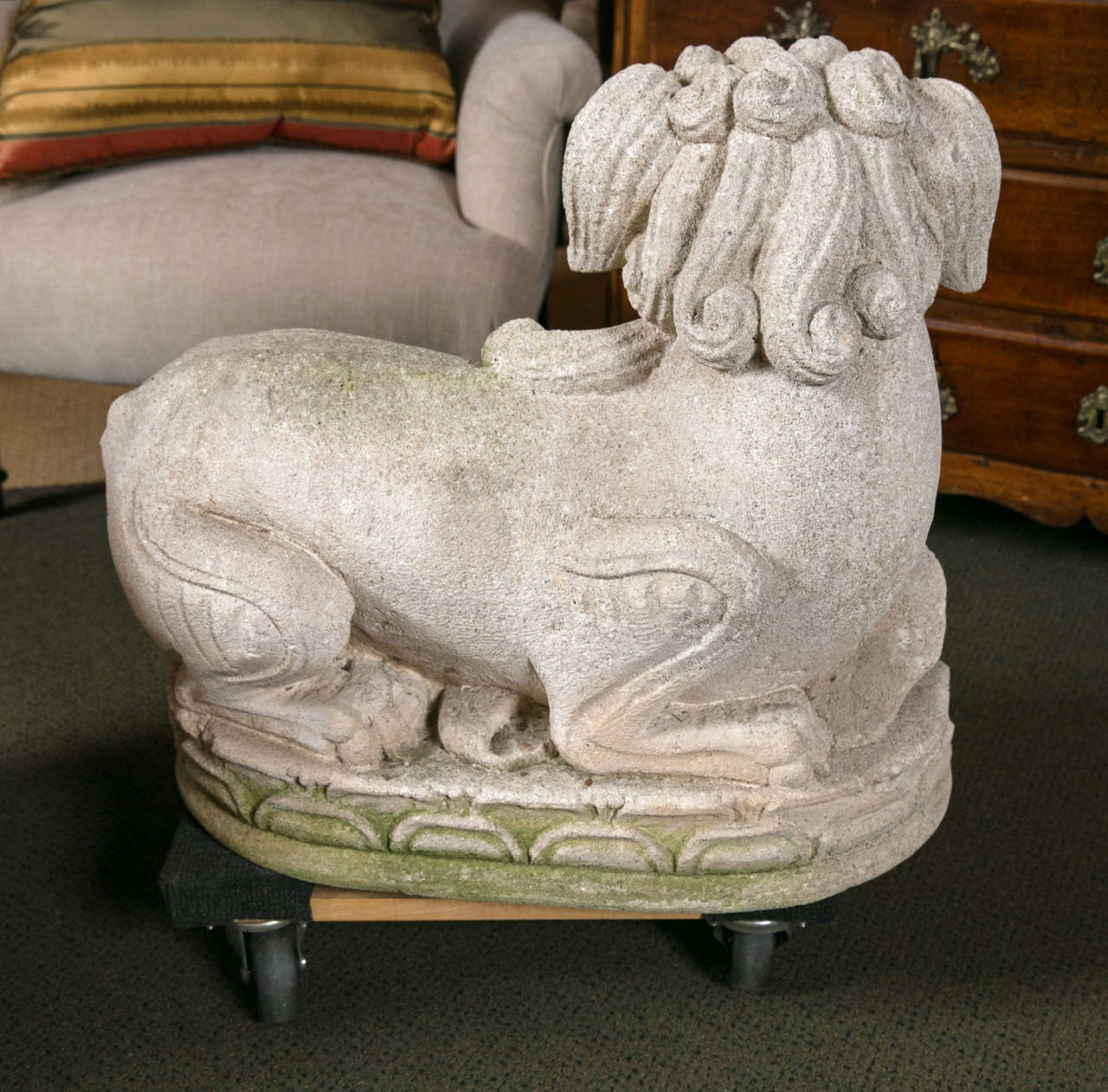 Carved Stone Foo Dogs For Sale 2