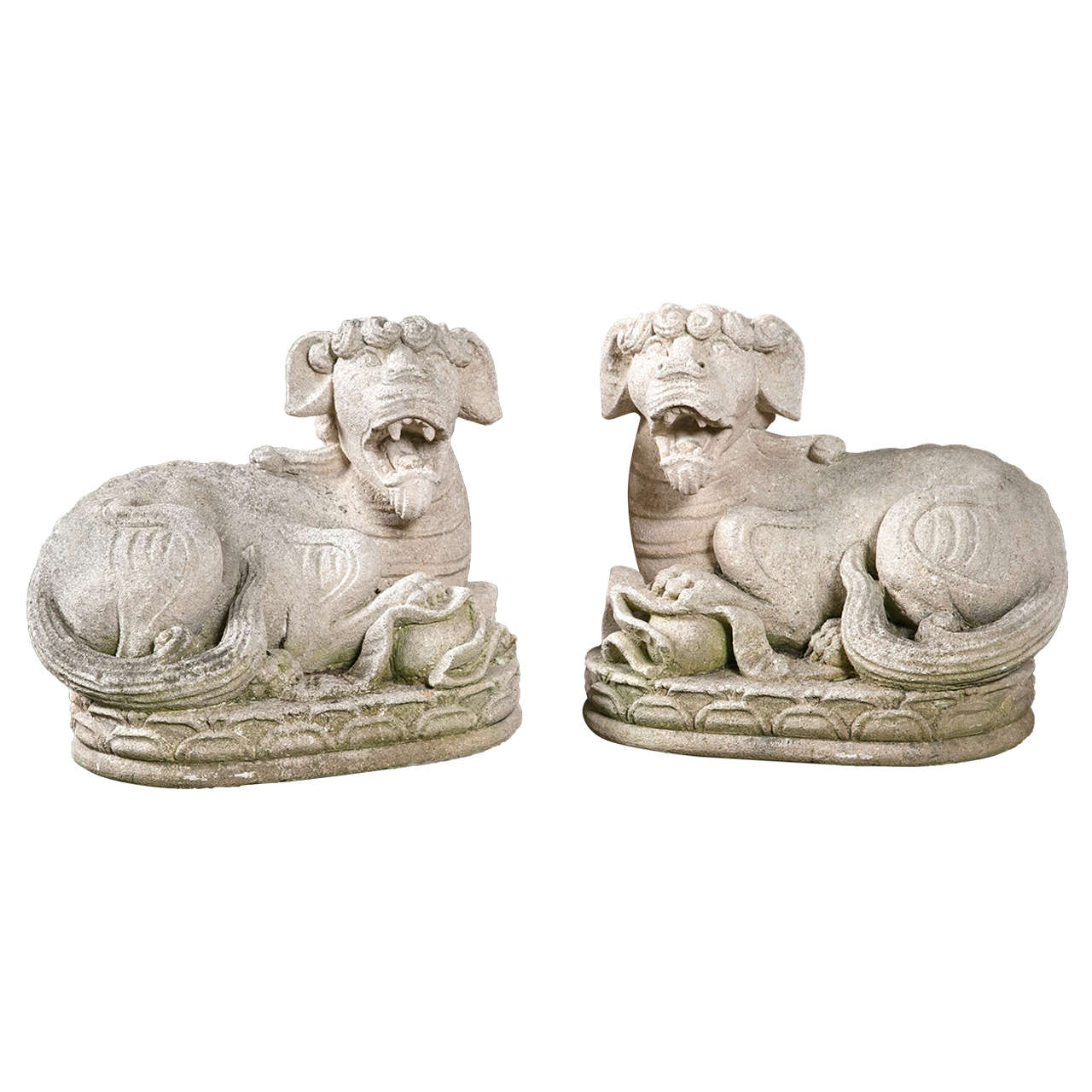 Carved Stone Foo Dogs For Sale
