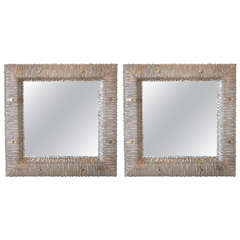 Pair of Italian Backlit Mirrors in Murano Glass