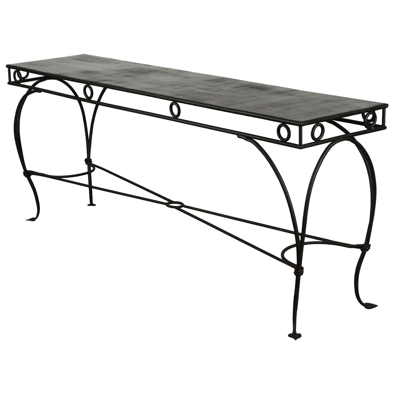 Wrought iron moroccan style console or sofa table at 1stdibs for Wrought iron sofa table base