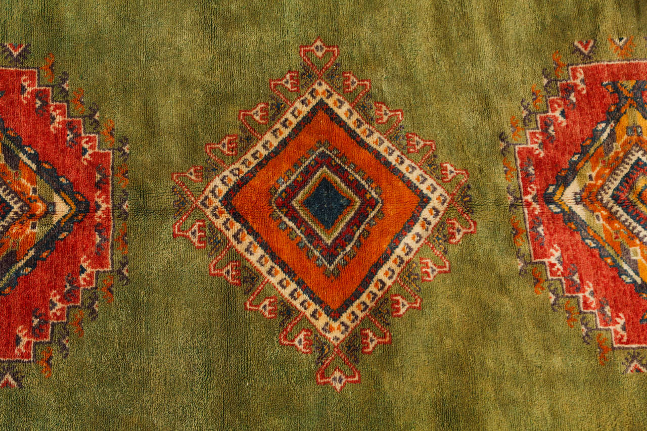 Vintage Moroccan Tribal Green and Orange Rug In Good Condition For Sale In Los Angeles, CA