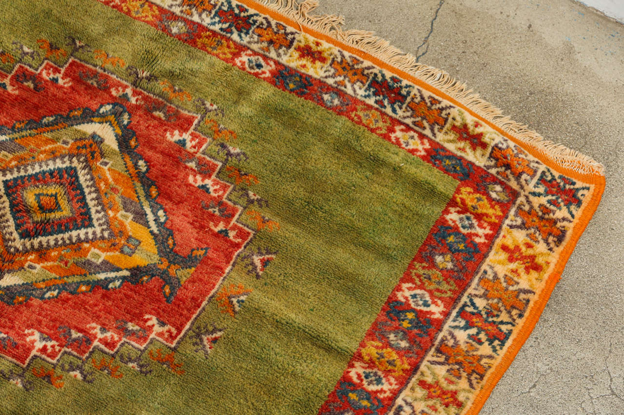 20th Century Vintage Moroccan Tribal Green and Orange Rug For Sale