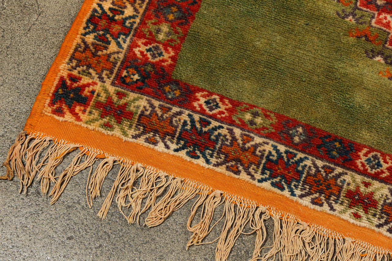 Wool Vintage Moroccan Tribal Green and Orange Rug For Sale