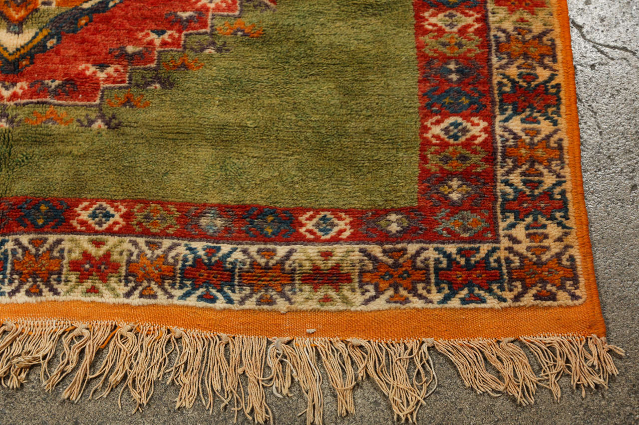 Vintage Moroccan Tribal Green and Orange Rug For Sale 1