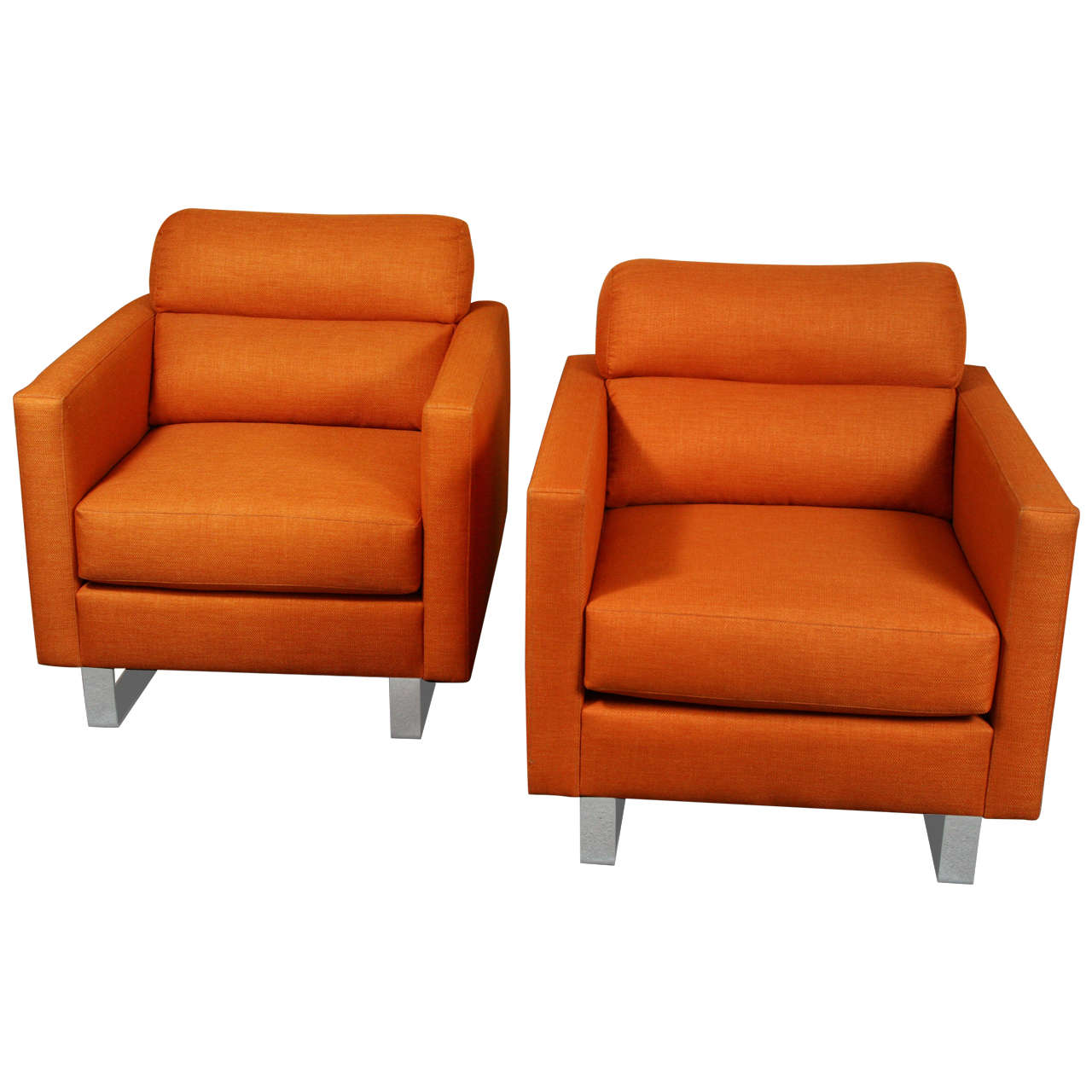 Pair Of Stylish Modernist Club Chairs Upholstered In A
