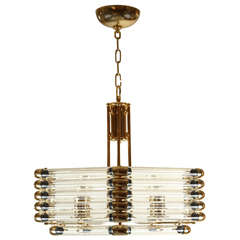 Fabulous Brass and Glass Geometric Chandelier