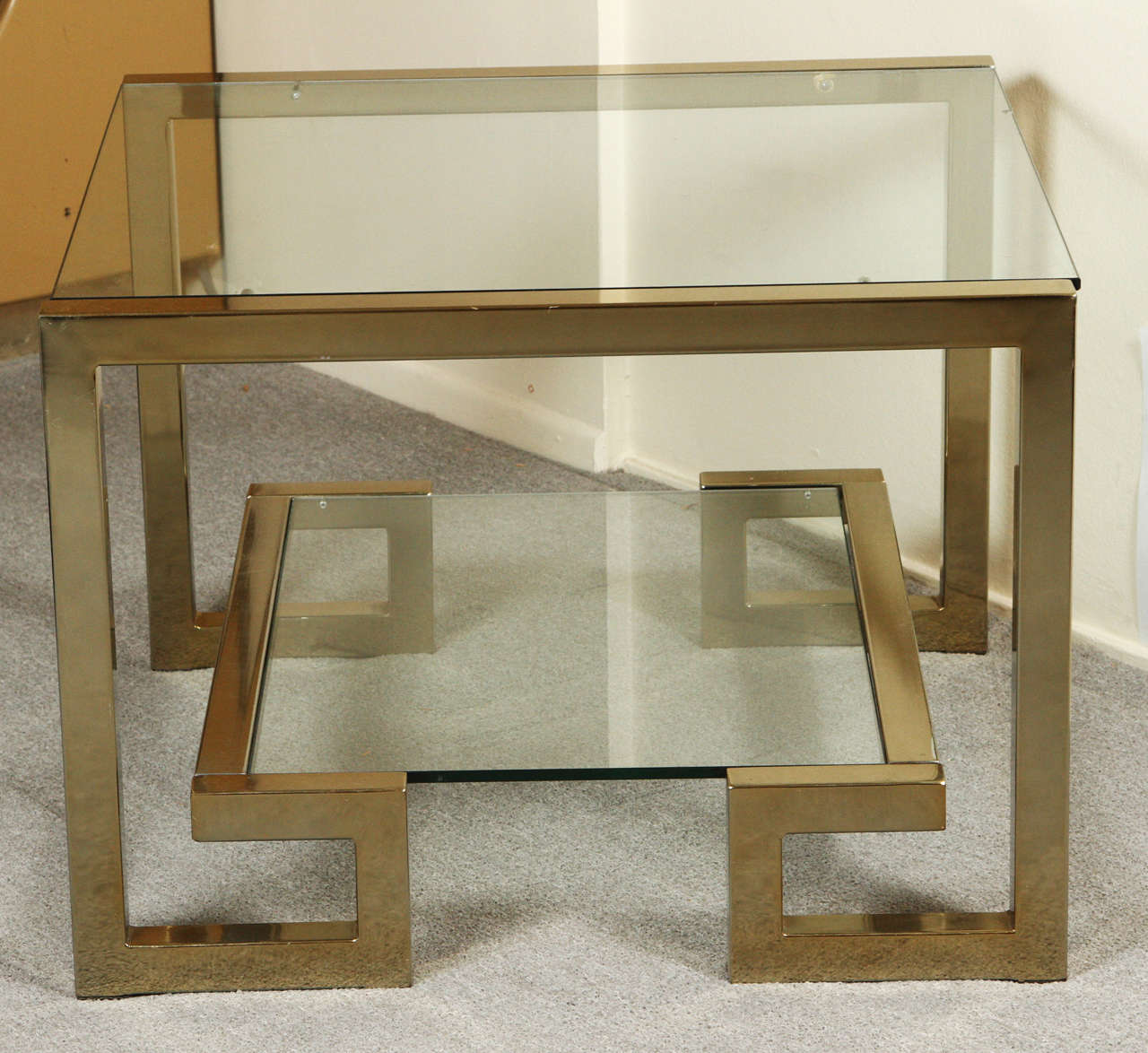 Greek coffee table the coffee table stylish greek key br and gl coffee table at 1stdibs geotapseo Gallery