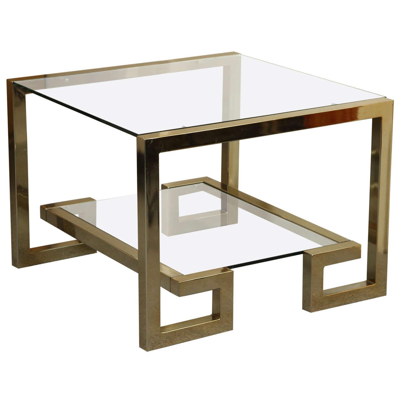 Stylish greek key brass and glass coffee table at 1stdibs for Brass and glass coffee table
