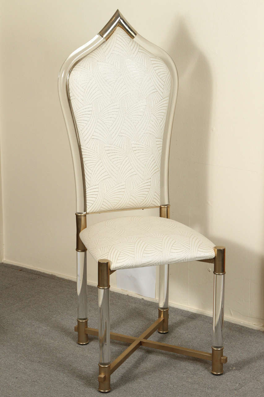 Set Of Eight Exotic Lucite Upholstered Dining Chairs With Brass Legs And  Trim By Antonio Pavio