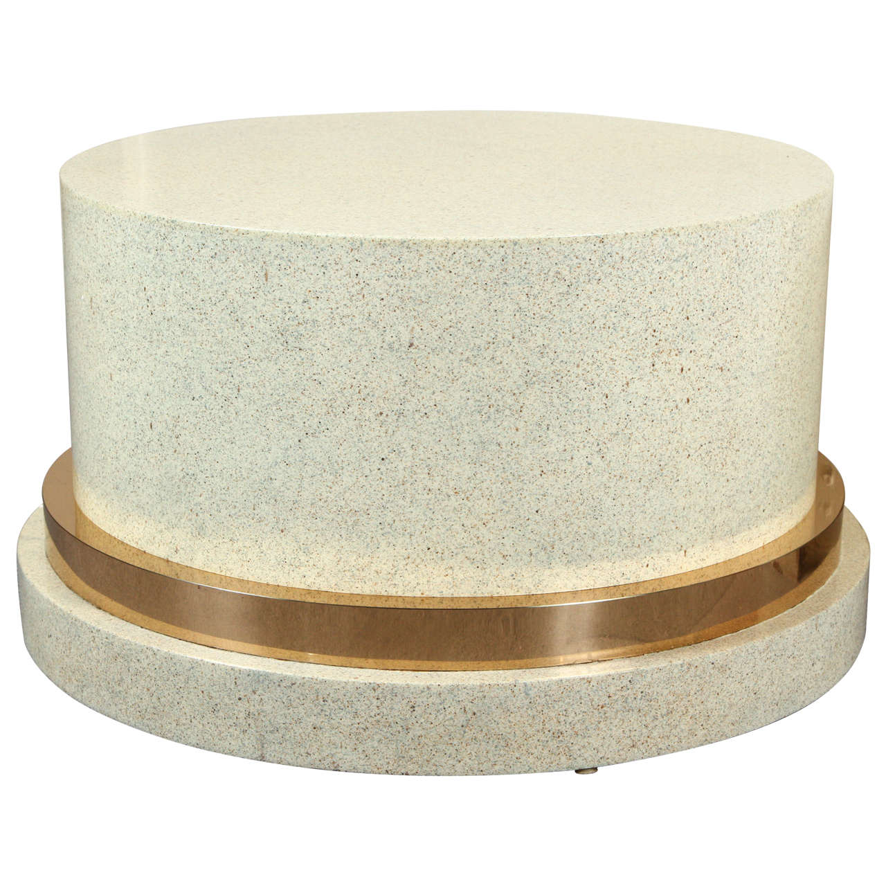 Low Pedestal Or Coffee Table Base Of Wood And Brass With A Faux Stone Finish At 1stdibs