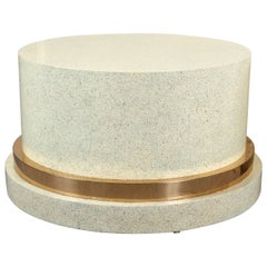 Low Pedestal, or Coffee Table Base of Wood and Brass with a Faux Stone Finish