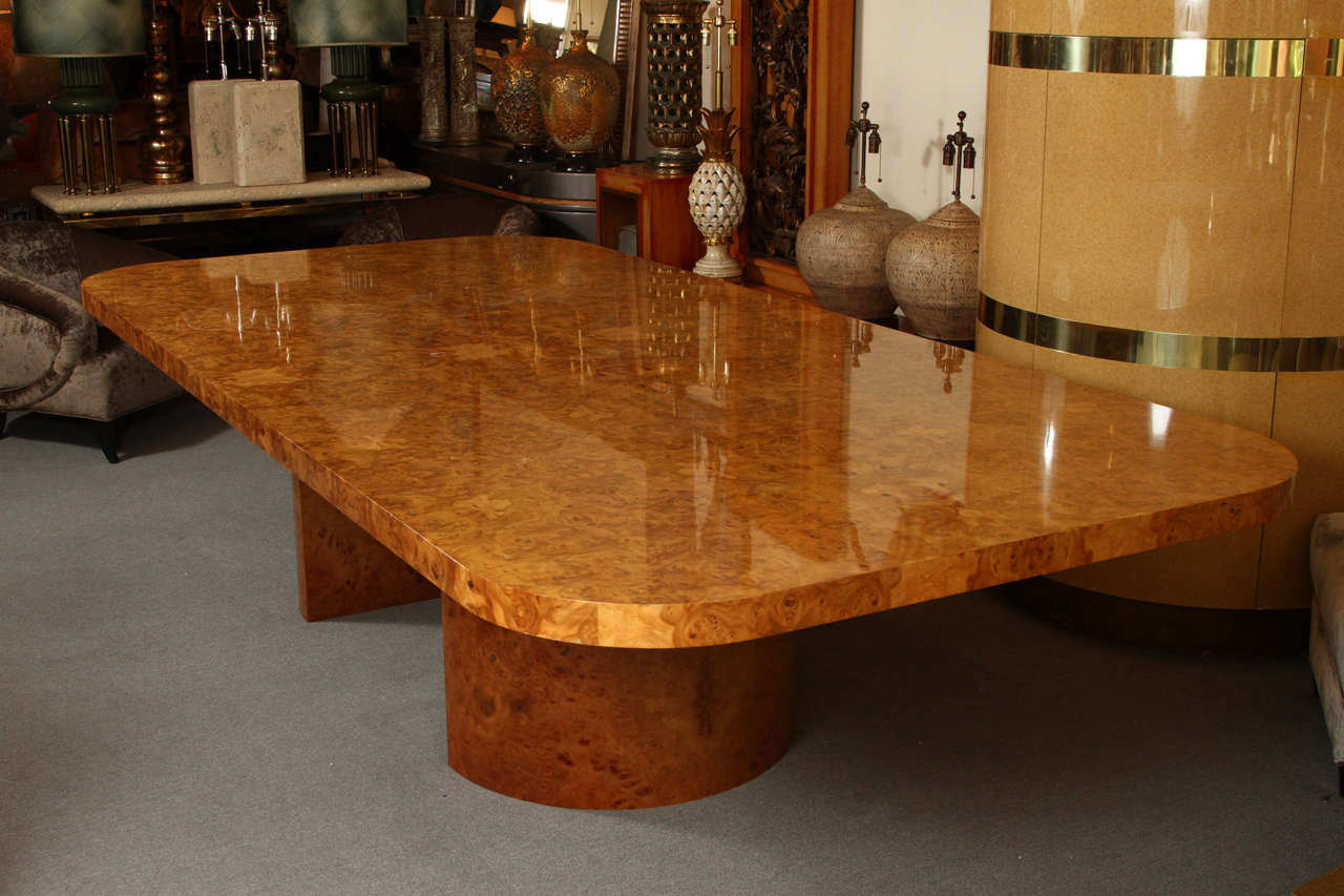 Magnificent And Monumental Burl Wood Dining Table Custom Made For A Deluxe Seattle By