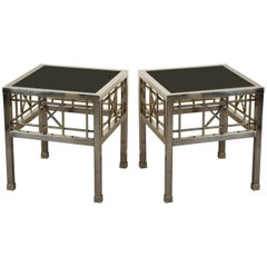 Pair of Campaign Style Side Tables in Metal and Black Glass