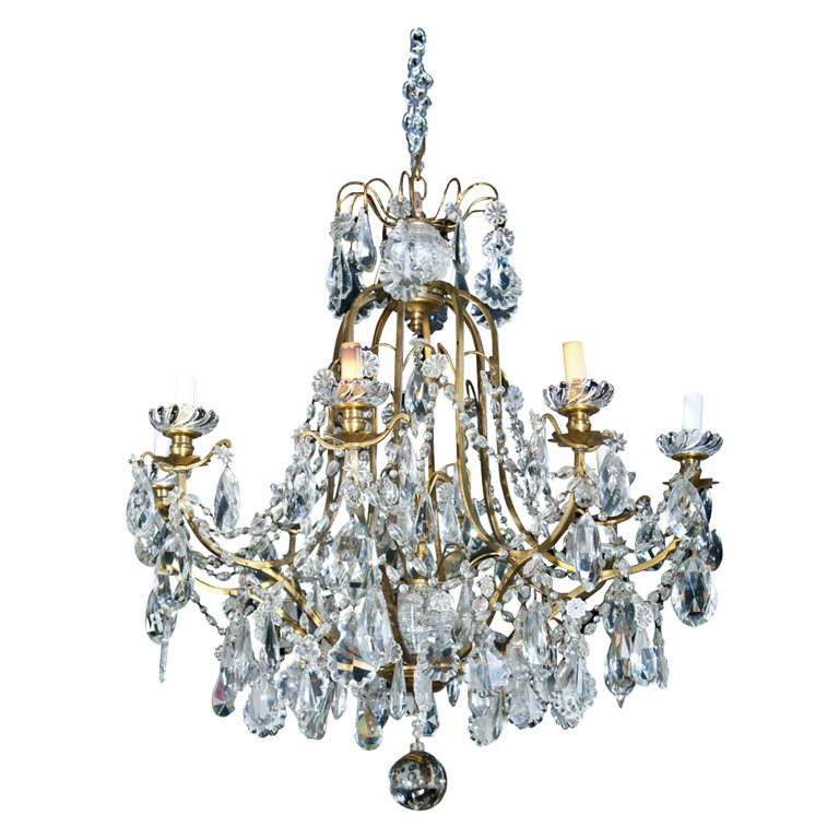 Antique Baccarat Crystal And Bronze Chandelier At 1stdibs