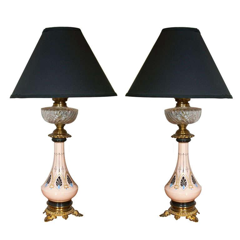 Pair of Porcelain & Cut Glass Lamps