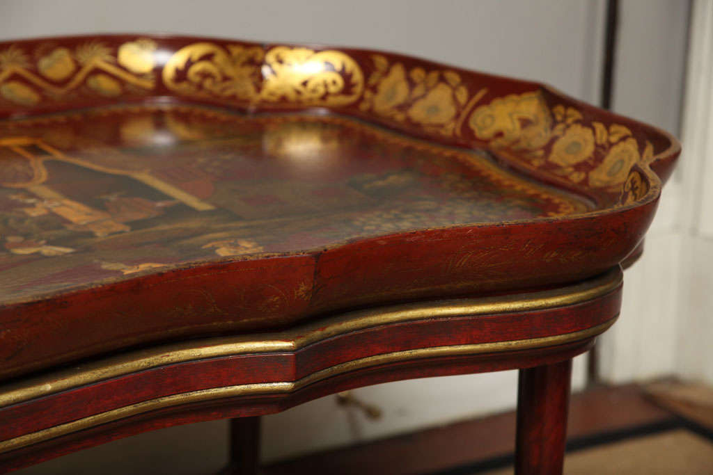 Very Fine red papier mache chinoiserie tray on stand, c.1840 For Sale 5