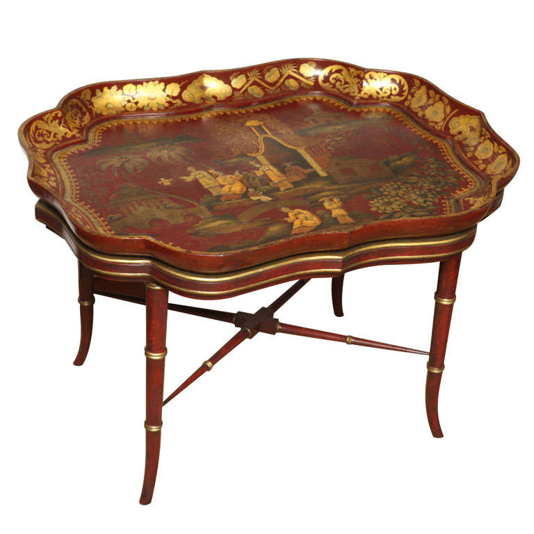 Very Fine red papier mache chinoiserie tray on stand, c.1840 For Sale