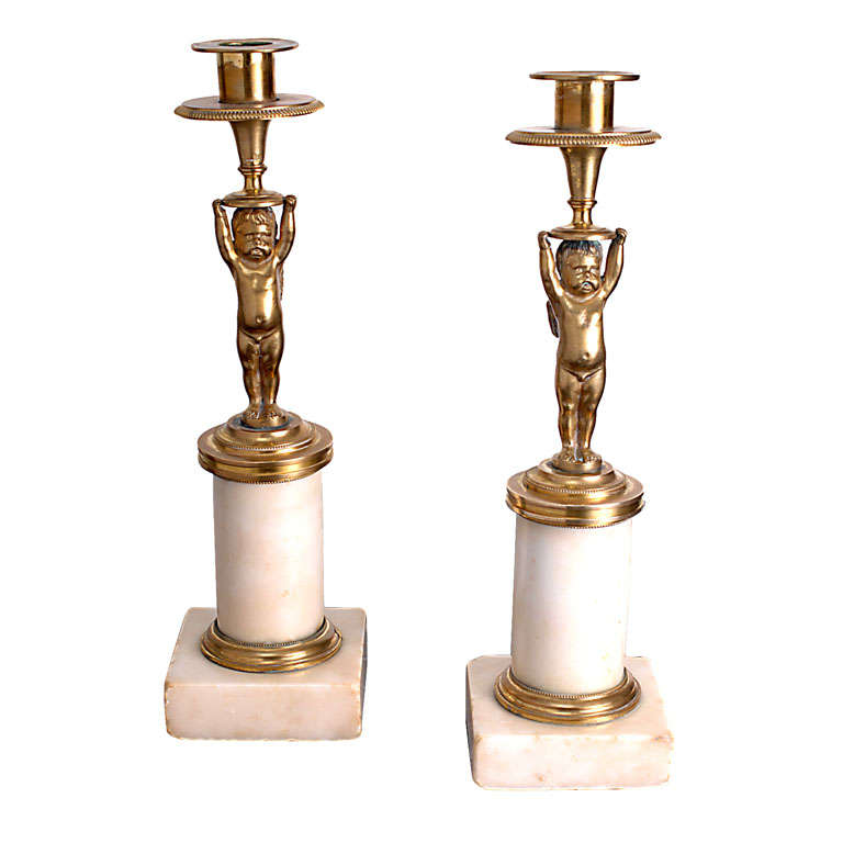 Pair of Napoleon III Brass and Marble Putti Candlesticks, France, Circa:1860