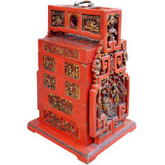 Fine Chinese Lacquered Food Storage Box of Impressive Size