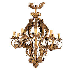 French Iron Gilt Chandelier