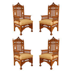 Middle Eastern Arabian Syrian Moorish Royal Throne Armchairs