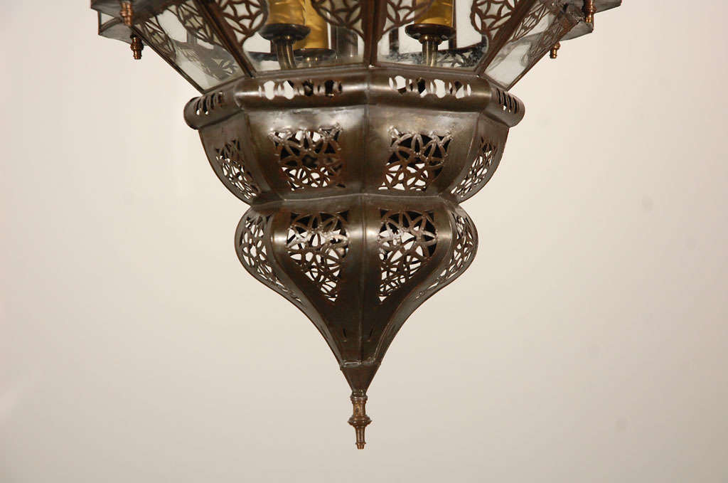 Moroccan Moorish Clear Glass Lantern For Sale 2