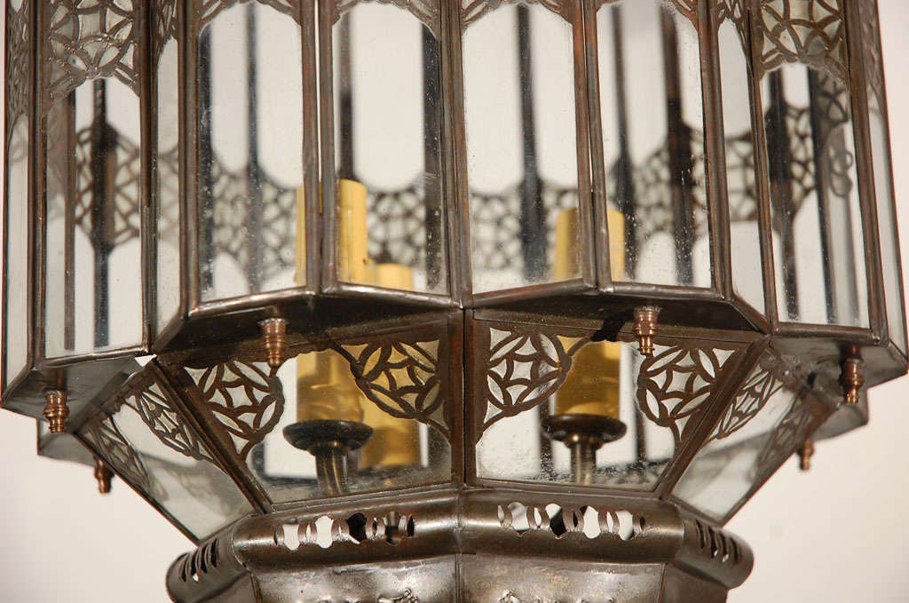 Hand-Crafted Moroccan Moorish Clear Glass Lantern For Sale