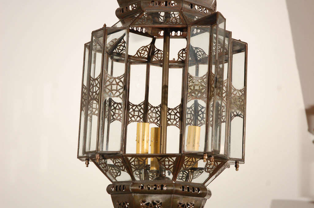 20th Century Moroccan Moorish Clear Glass Lantern For Sale