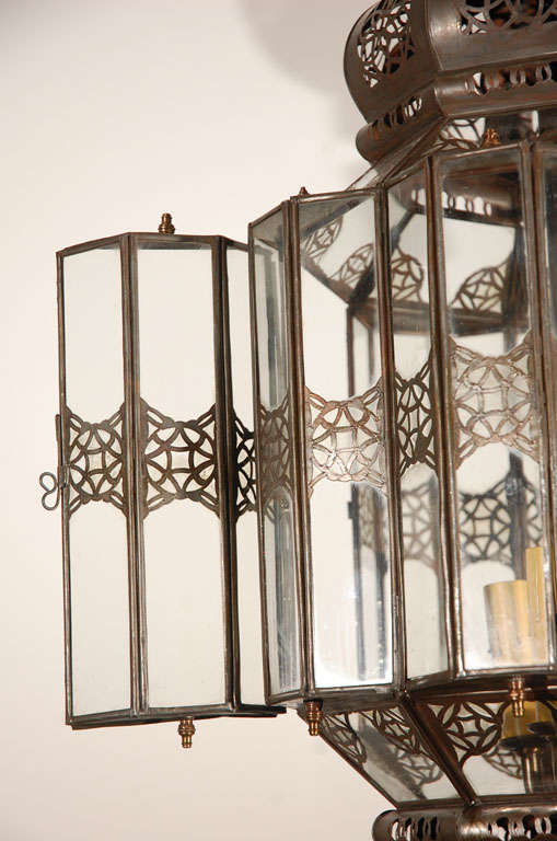 Metal Moroccan Moorish Clear Glass Lantern For Sale