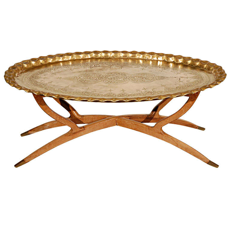 Delicieux Brass Tray Table On Folding Spider Wooden Stand