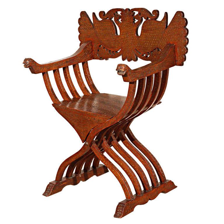 Hispano Moresque Savonarola inlaid armchair, 19th century, offered by Mosaik