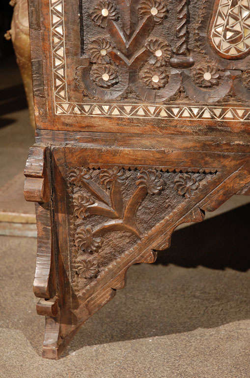 Antique Moorish Syrian Wedding Chest Inlaid With Mother Of