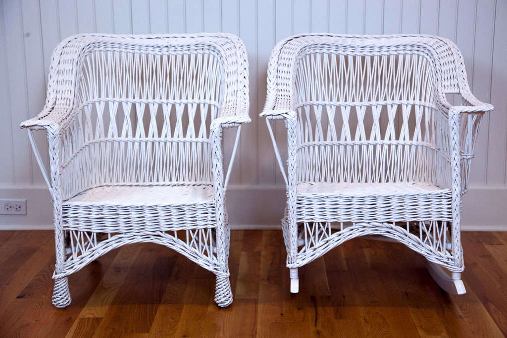 Antique Wicker Chair and Rocker at 1stdibs