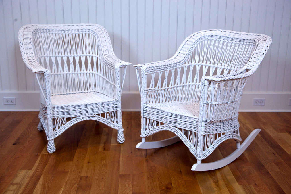 Willow chair and rocker with intricate woven design on back in excellent  condition. Rocker includes. American Antique Wicker ... - Antique Wicker Chair And Rocker At 1stdibs