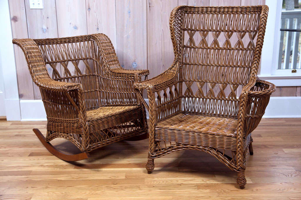 Heywood Wakefield Bar Harbor Wicker Wingback Chair 7