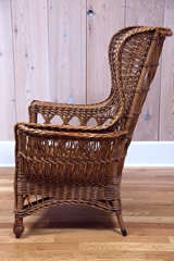 Heywood Wakefield Bar Harbor Wicker Wingback Chair image 5