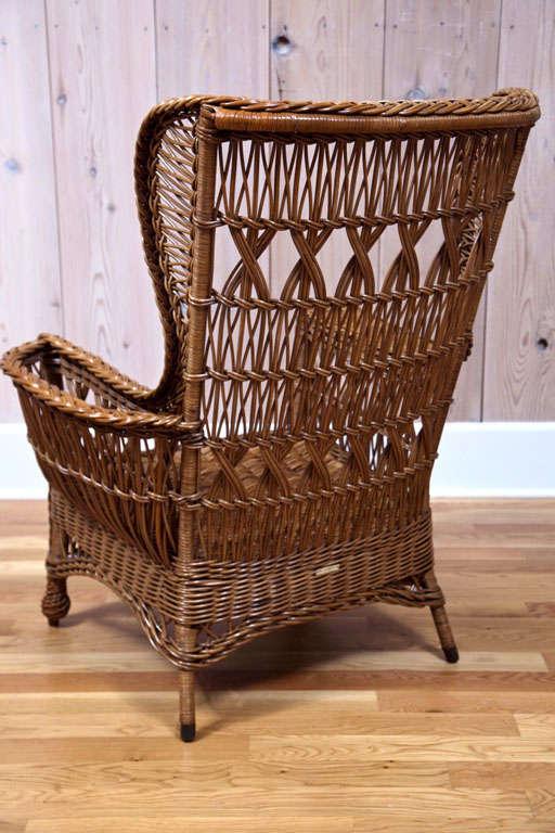 Heywood Wakefield Bar Harbor Wicker Wingback Chair 6
