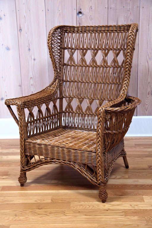 Heywood Wakefield Bar Harbor Wicker Wingback Chair At 1stdibs