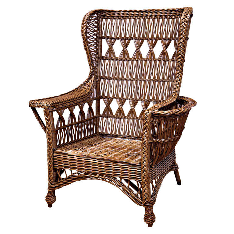 Heywood Wakefield Bar Harbor Wicker Wingback Chair