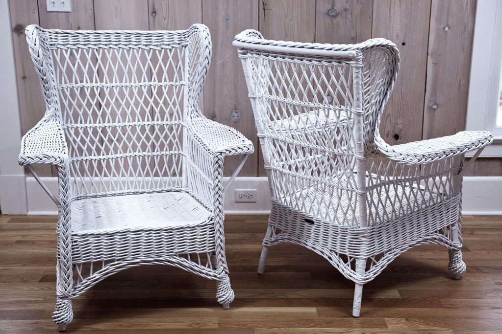 Heywood Wakefield Wicker Wingback Armchairs For Sale At