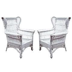 Heywood Wakefield Wicker Wingback Armchairs