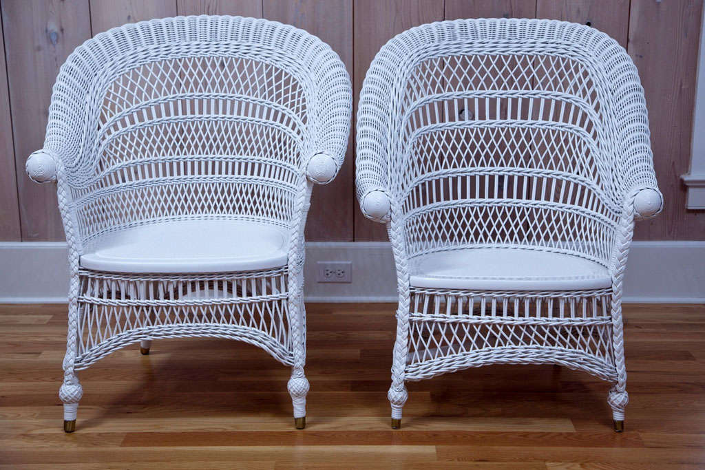 Delicieux Stylish, Turn Of The Century, Wicker Rolled Arm Side Chairs With Elegant  Lattice